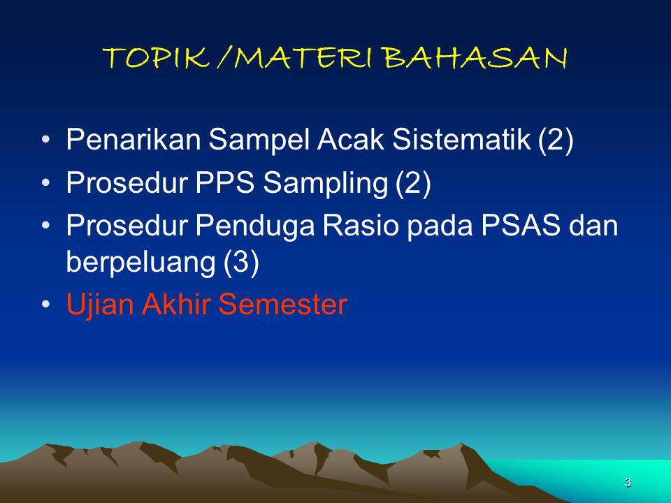 TOPIK /MATERI BAHASAN Penarikan Sampel Acak Sistematik (2)