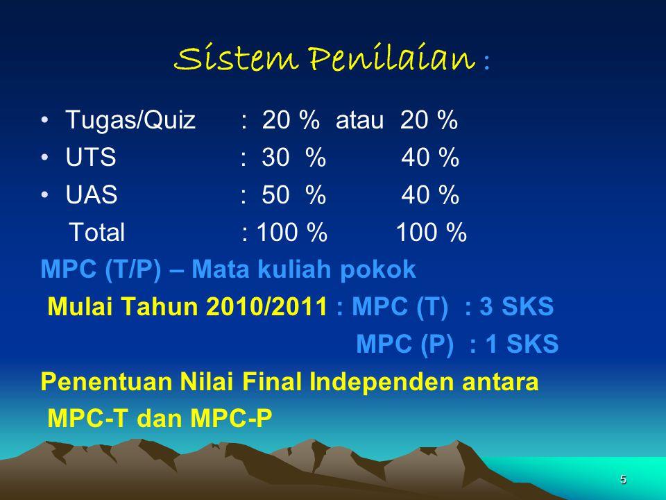 Sistem Penilaian : Tugas/Quiz : 20 % atau 20 % UTS : 30 % 40 %