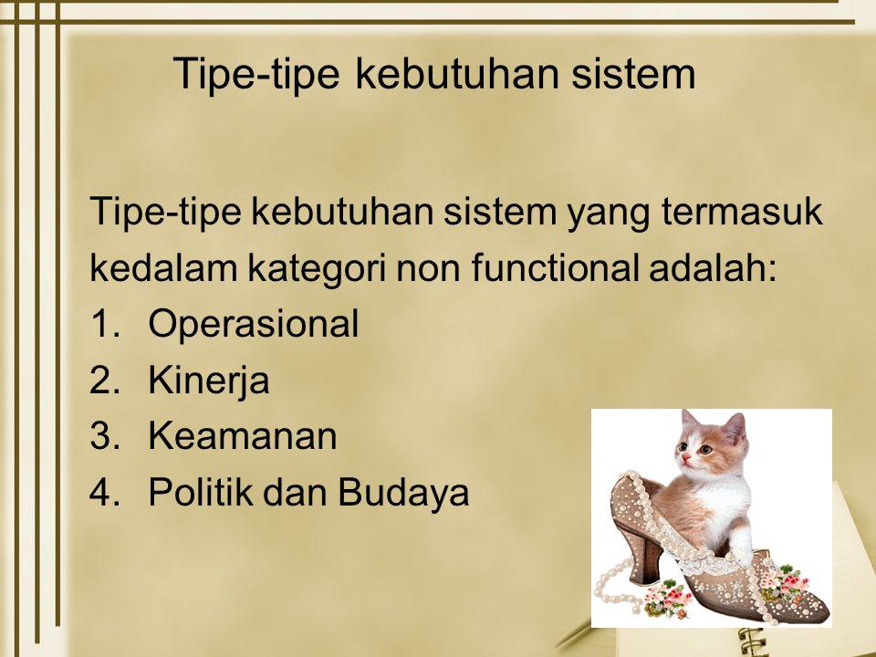 Tipe-tipe kebutuhan sistem