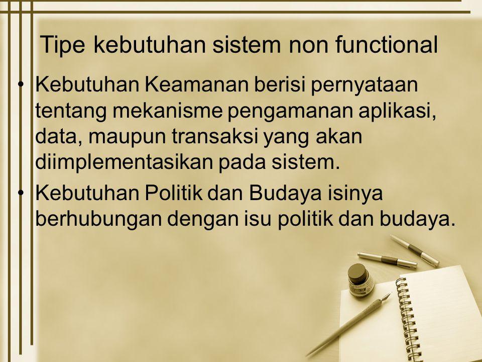 Tipe kebutuhan sistem non functional