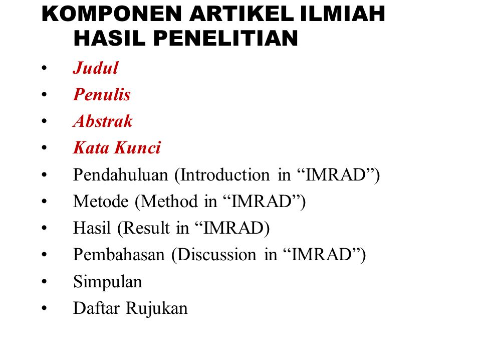 KOMPONEN ARTIKEL ILMIAH HASIL PENELITIAN