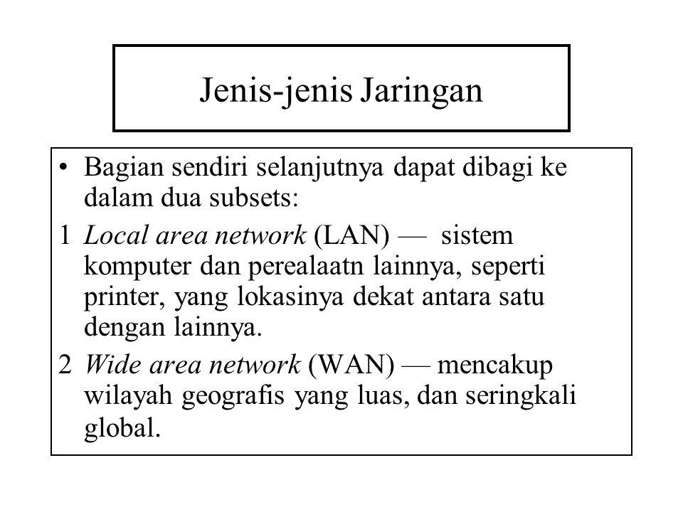 Jenis-jenis Jaringan Bagian sendiri selanjutnya dapat dibagi ke dalam dua subsets: