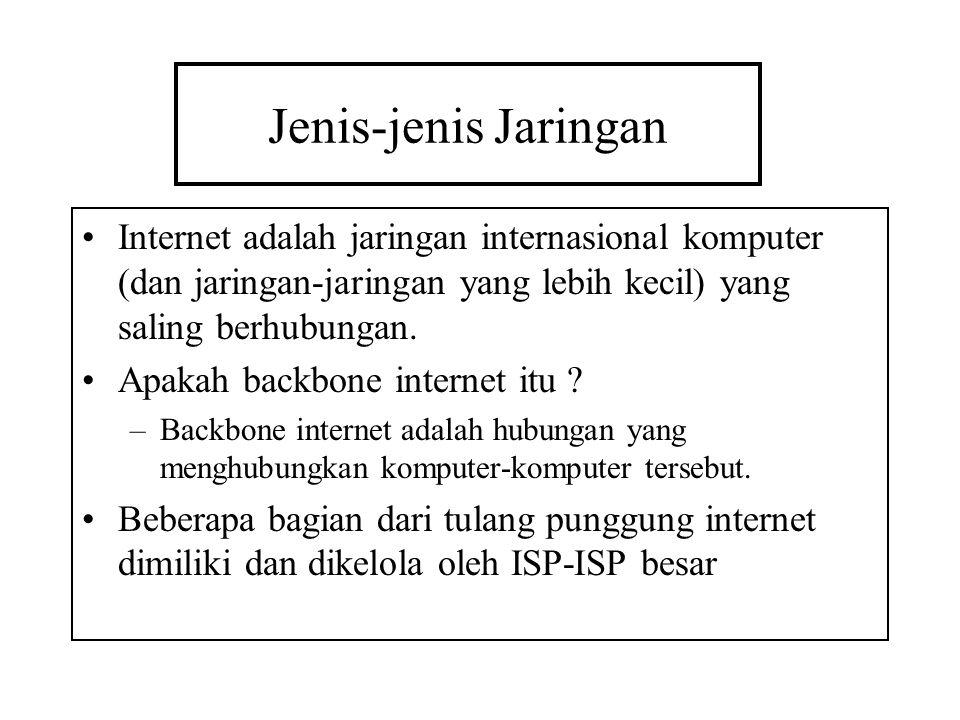 Jenis-jenis Jaringan Internet adalah jaringan internasional komputer (dan jaringan-jaringan yang lebih kecil) yang saling berhubungan.