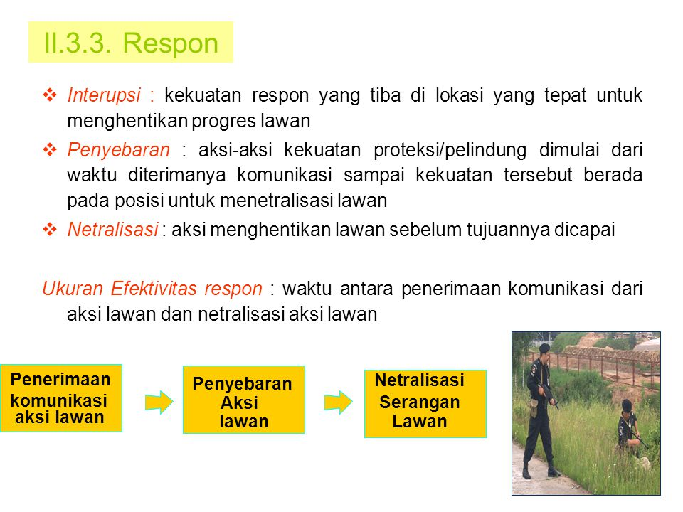 II.3.3. Respon Interupsi : kekuatan respon yang tiba di lokasi yang tepat untuk menghentikan progres lawan.