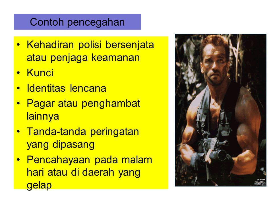 Contoh pencegahan Kehadiran polisi bersenjata atau penjaga keamanan. Kunci. Identitas lencana. Pagar atau penghambat lainnya.