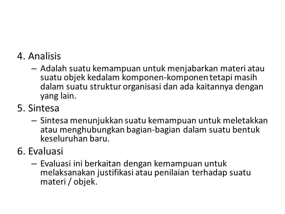4. Analisis 5. Sintesa 6. Evaluasi