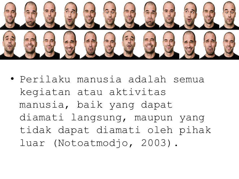 Perilaku manusia adalah semua kegiatan atau aktivitas manusia, baik yang dapat diamati langsung, maupun yang tidak dapat diamati oleh pihak luar (Notoatmodjo, 2003).