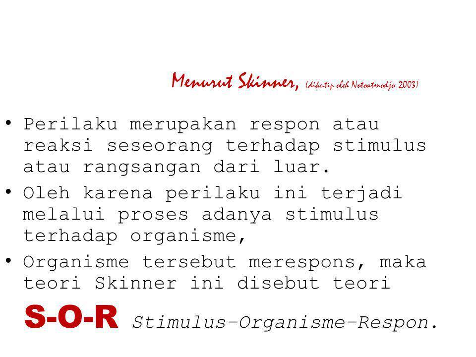Menurut Skinner, (dikutip oleh Notoatmodjo 2003)