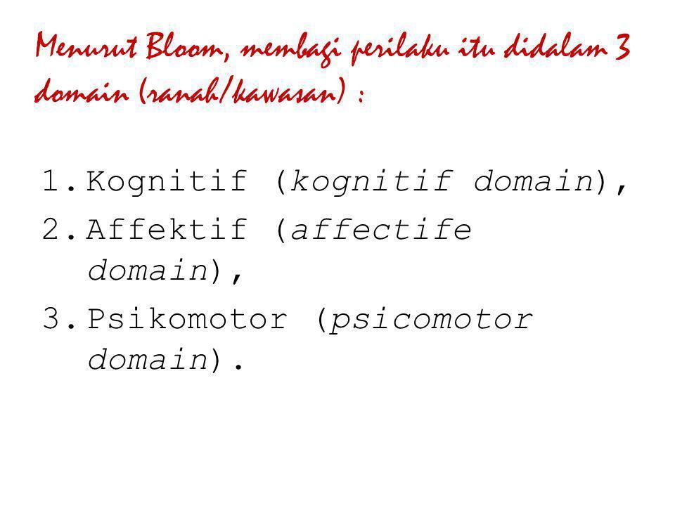Menurut Bloom, membagi perilaku itu didalam 3 domain (ranah/kawasan) :