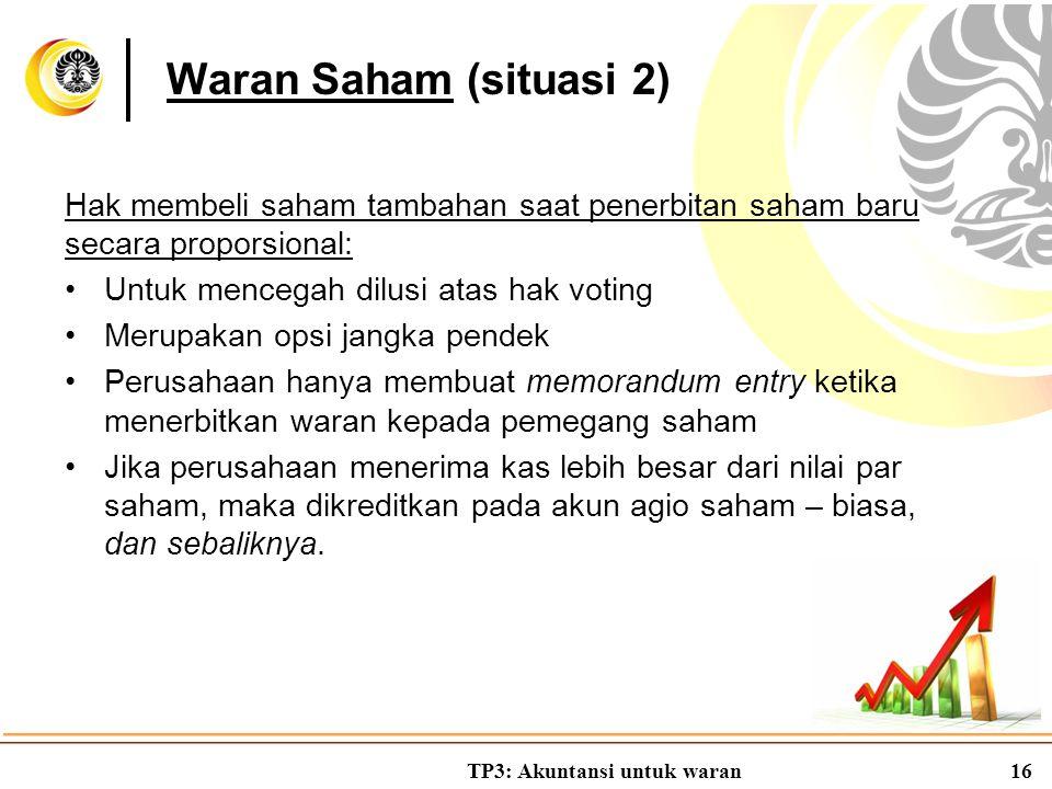 Waran Saham (situasi 2) Hak membeli saham tambahan saat penerbitan saham baru secara proporsional: Untuk mencegah dilusi atas hak voting.