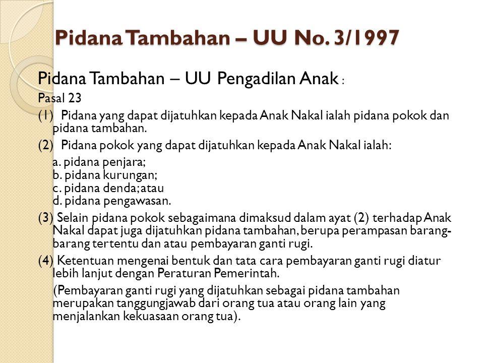 Pidana Tambahan – UU No. 3/1997