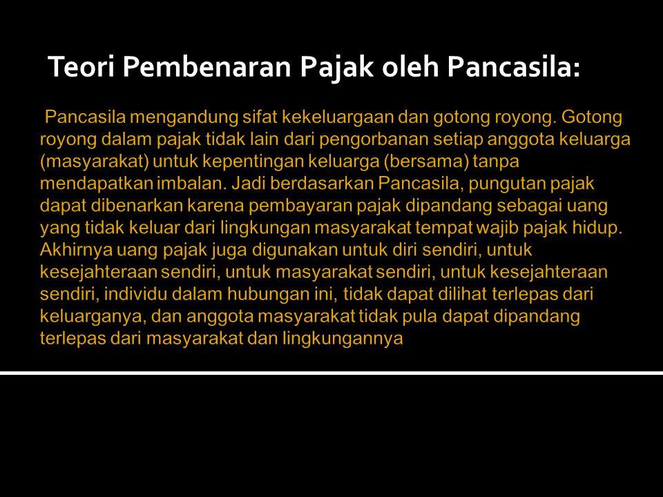 Teori Pembenaran Pajak oleh Pancasila:
