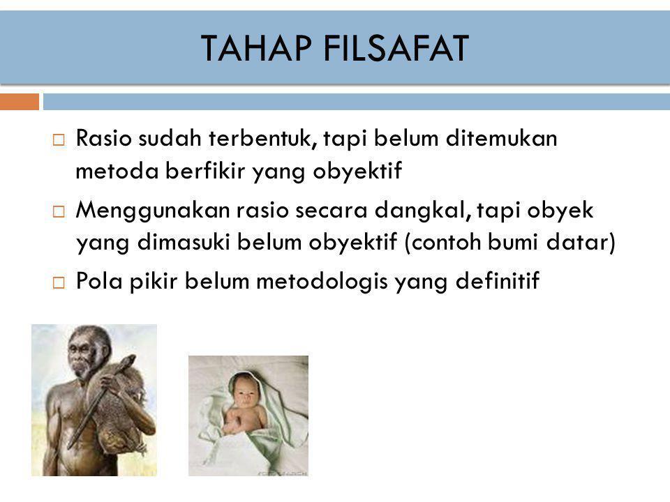 TAHAP FILSAFAT Rasio sudah terbentuk, tapi belum ditemukan metoda berfikir yang obyektif.