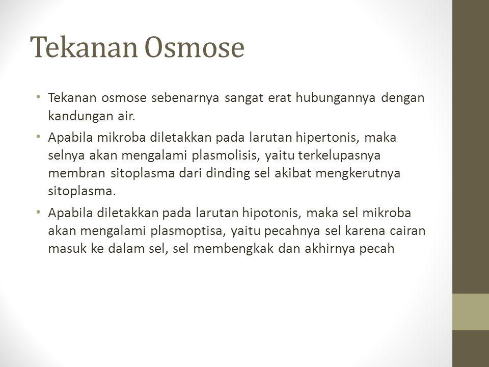 Tekanan Osmose Tekanan osmose sebenarnya sangat erat hubungannya dengan kandungan air.
