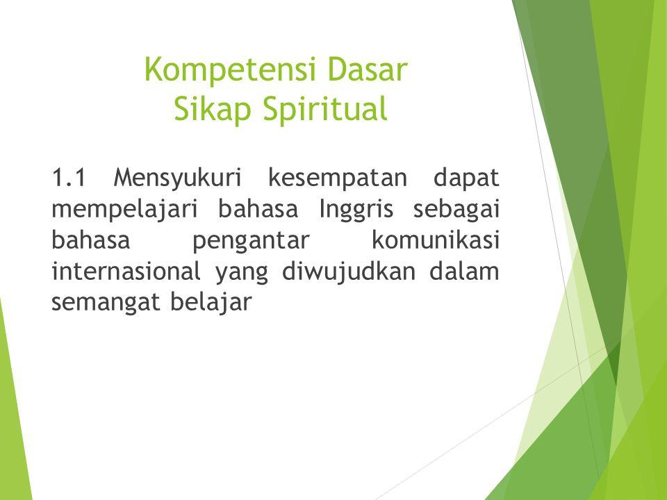 Kompetensi Dasar Sikap Spiritual