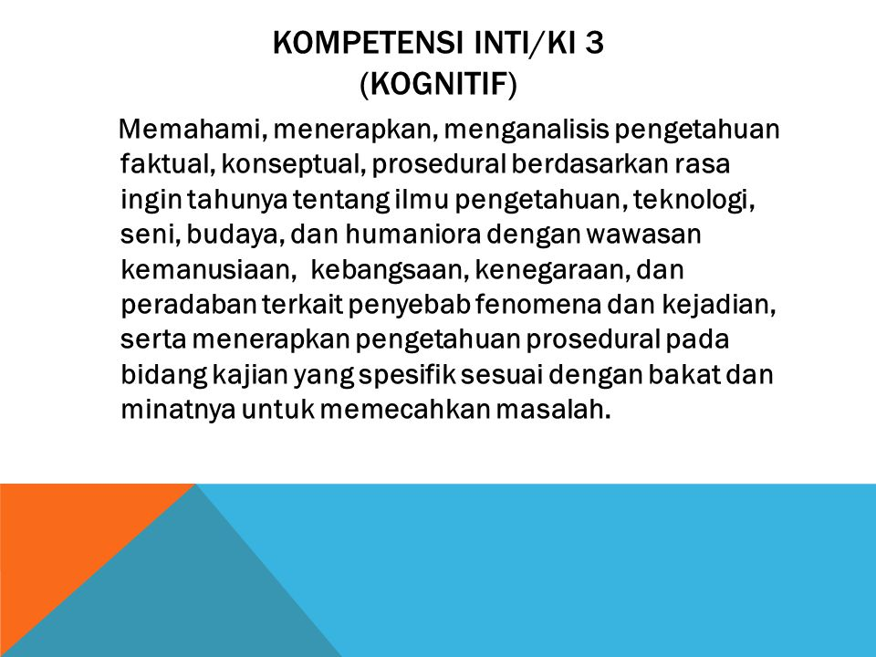 Kompetensi Inti/KI 3 (Kognitif)