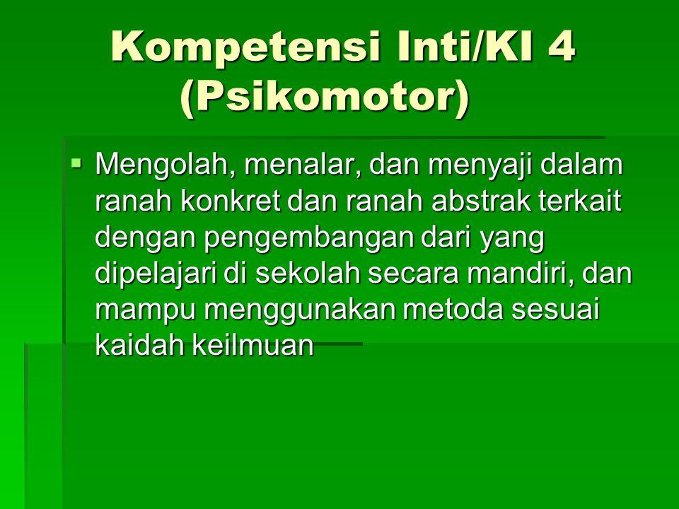 Kompetensi Inti/KI 4 (Psikomotor)