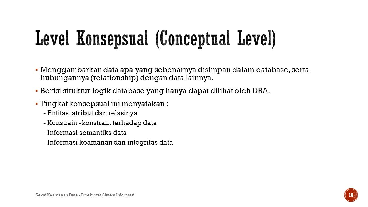 Level Konsepsual (Conceptual Level)