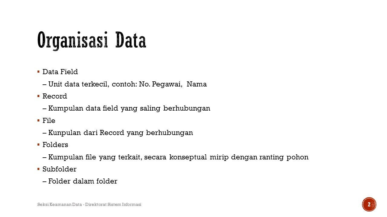 Organisasi Data Data Field