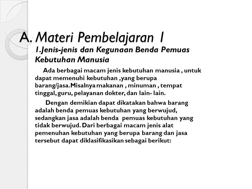 A. Materi Pembelajaran 1 1.Jenis-jenis dan Kegunaan Benda Pemuas Kebutuhan Manusia.