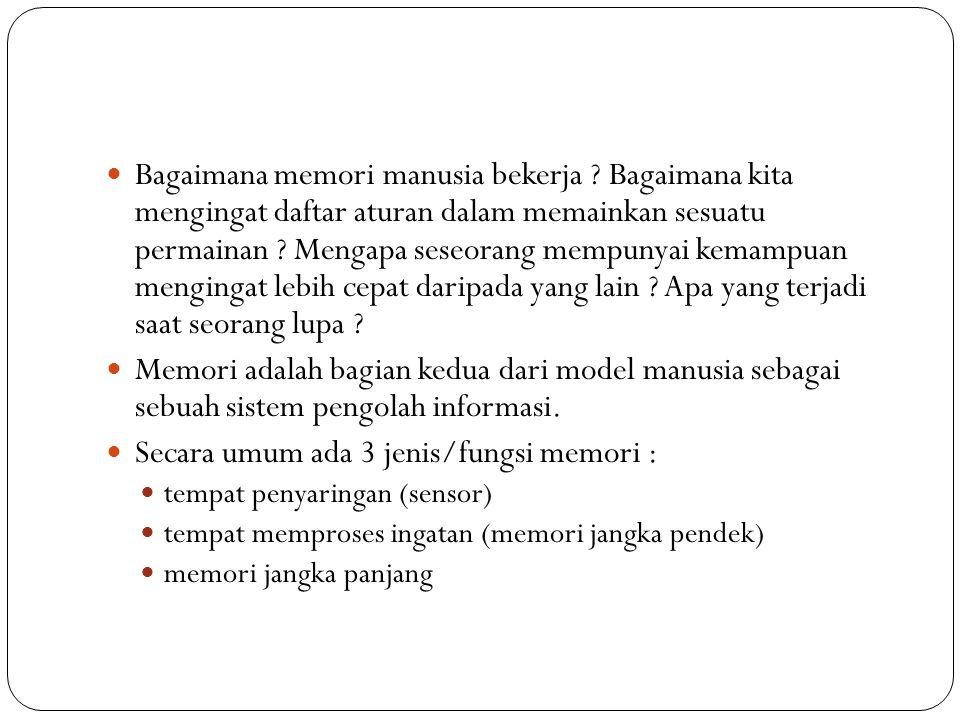 Secara umum ada 3 jenis/fungsi memori :