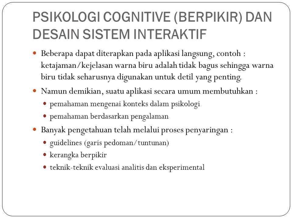 PSIKOLOGI COGNITIVE (BERPIKIR) DAN DESAIN SISTEM INTERAKTIF