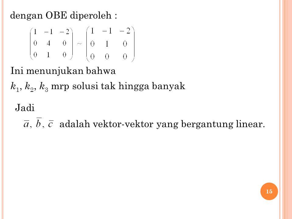 dengan OBE diperoleh : Ini menunjukan bahwa. k1, k2, k3 mrp solusi tak hingga banyak.