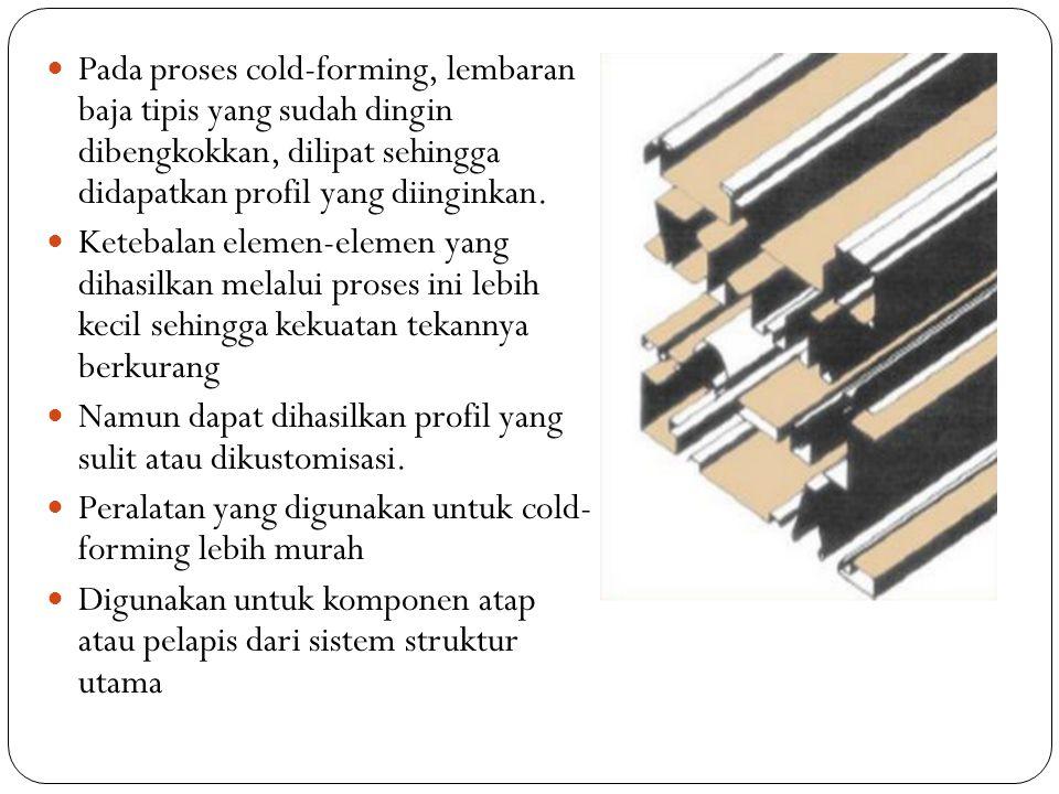 Pada proses cold-forming, lembaran baja tipis yang sudah dingin dibengkokkan, dilipat sehingga didapatkan profil yang diinginkan.