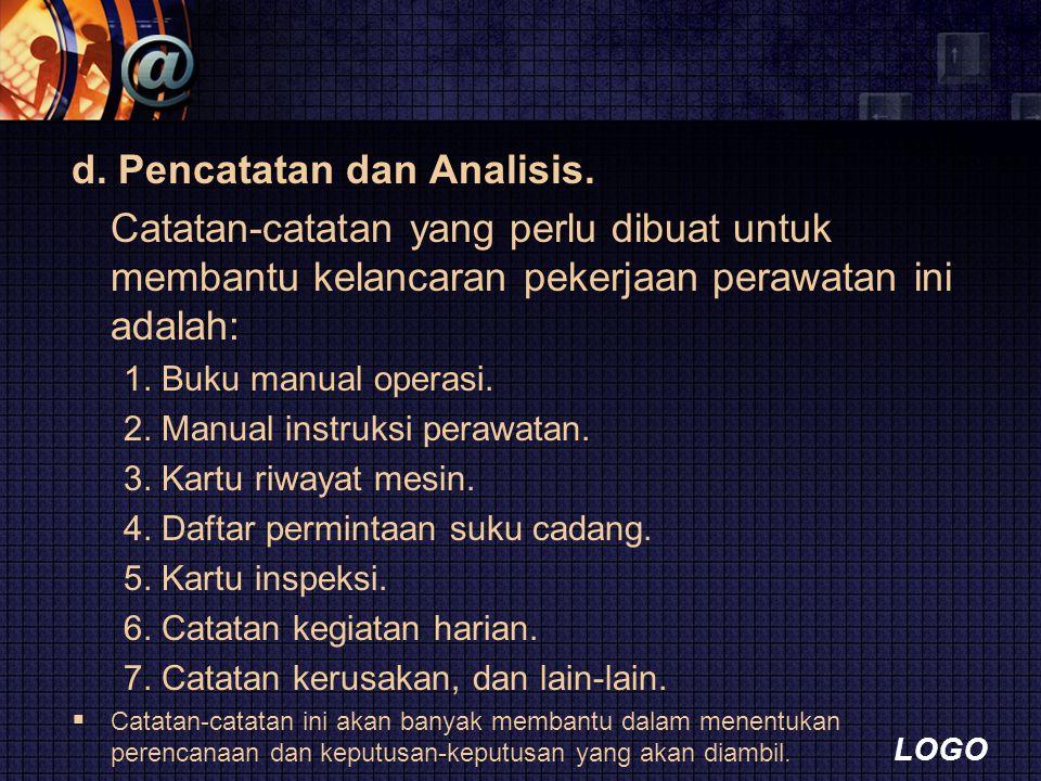 d. Pencatatan dan Analisis.