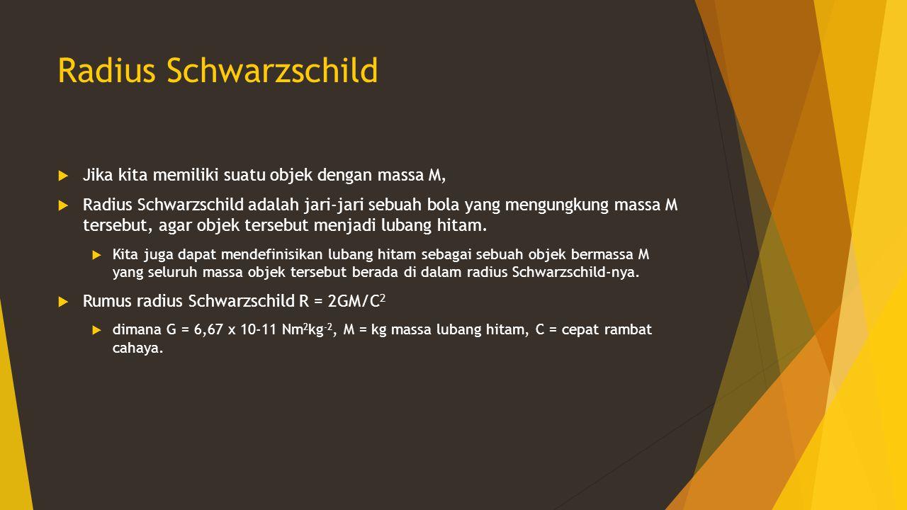 Radius Schwarzschild Jika kita memiliki suatu objek dengan massa M,