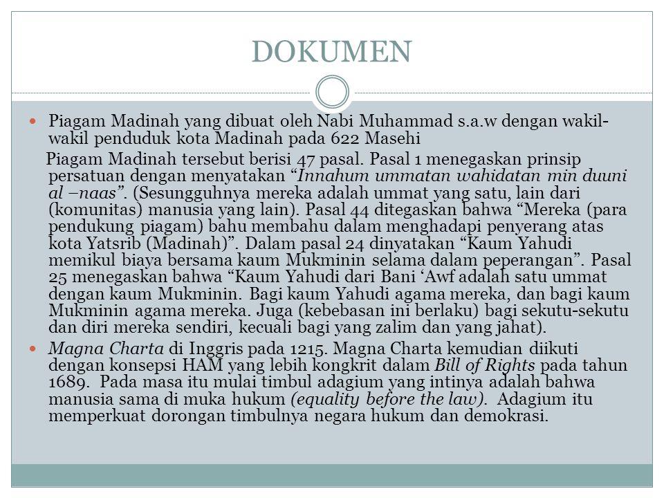 DOKUMEN Piagam Madinah yang dibuat oleh Nabi Muhammad s.a.w dengan wakil-wakil penduduk kota Madinah pada 622 Masehi.