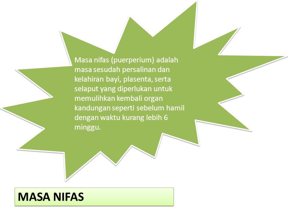 Masa nifas (puerperium) adalah masa sesudah persalinan dan kelahiran bayi, plasenta, serta selaput yang diperlukan untuk memulihkan kembali organ kandungan seperti sebelum hamil dengan waktu kurang lebih 6 minggu.