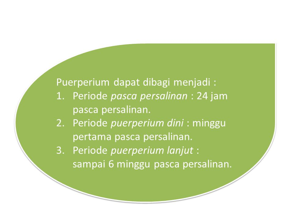 Puerperium dapat dibagi menjadi :