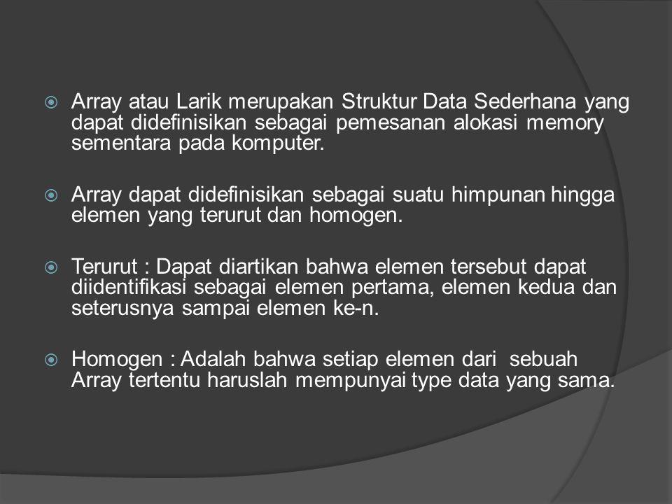 Array atau Larik merupakan Struktur Data Sederhana yang dapat didefinisikan sebagai pemesanan alokasi memory sementara pada komputer.