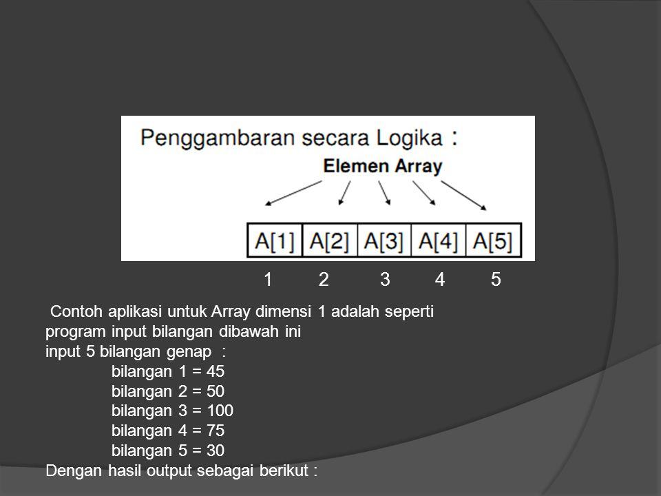 1 2 3 4 5 Contoh aplikasi untuk Array dimensi 1 adalah seperti. program input bilangan dibawah ini.