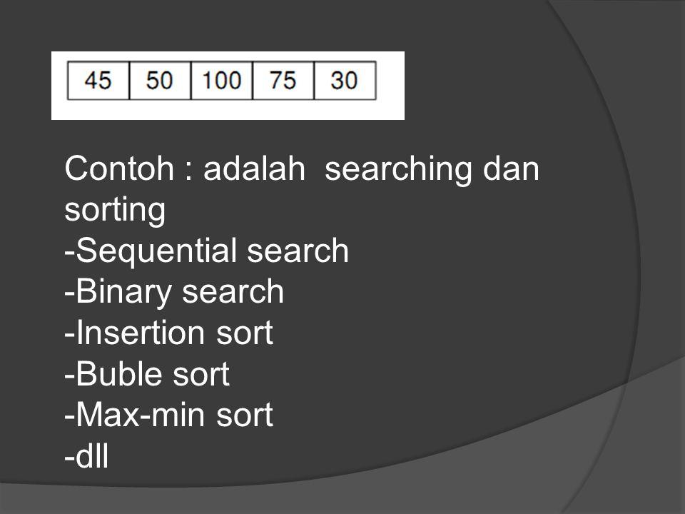 Contoh : adalah searching dan sorting
