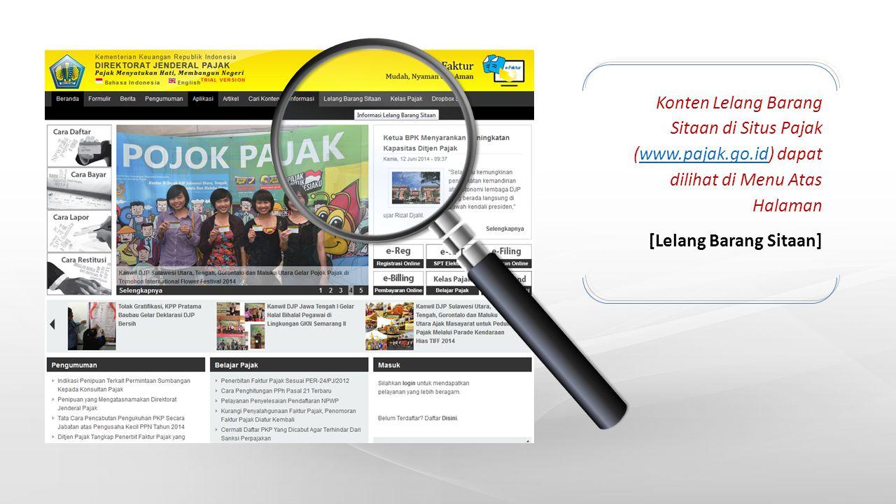 Konten Lelang Barang Sitaan di Situs Pajak (www. pajak. go