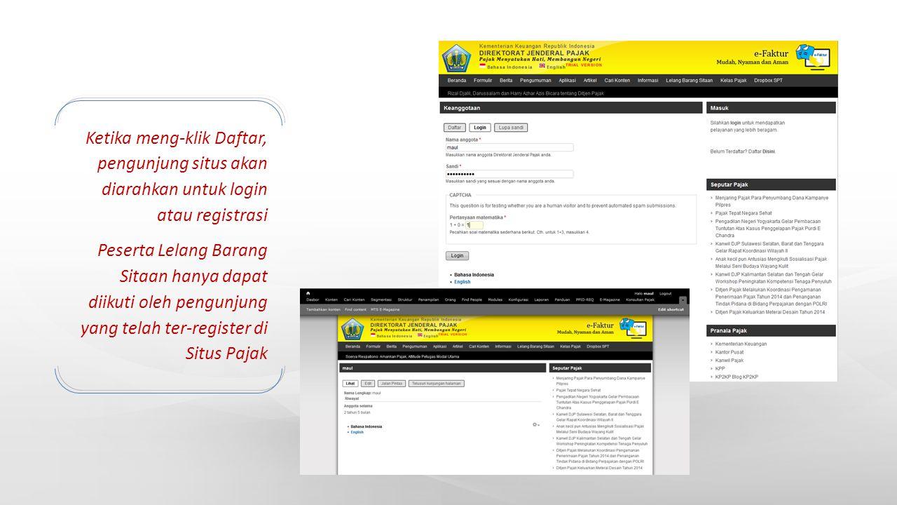 Ketika meng-klik Daftar, pengunjung situs akan diarahkan untuk login atau registrasi