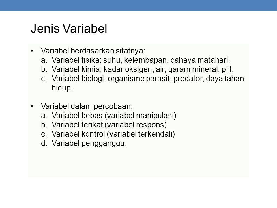 Jenis Variabel Variabel berdasarkan sifatnya: