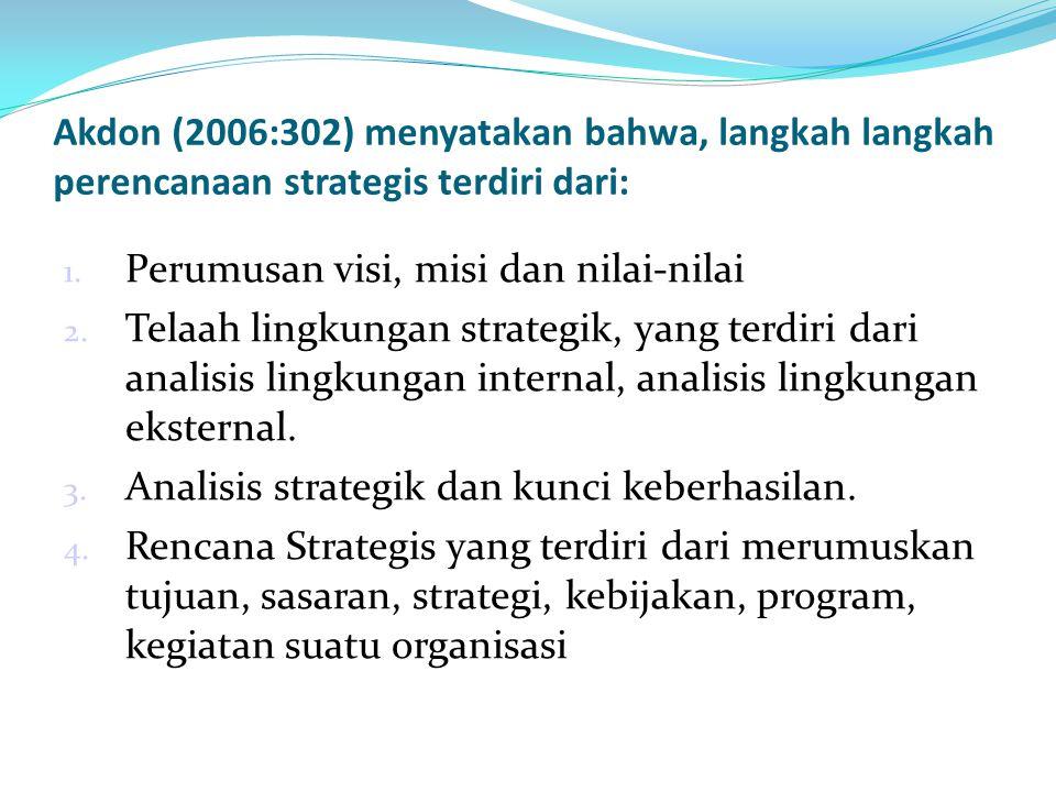 Akdon (2006:302) menyatakan bahwa, langkah langkah perencanaan strategis terdiri dari: