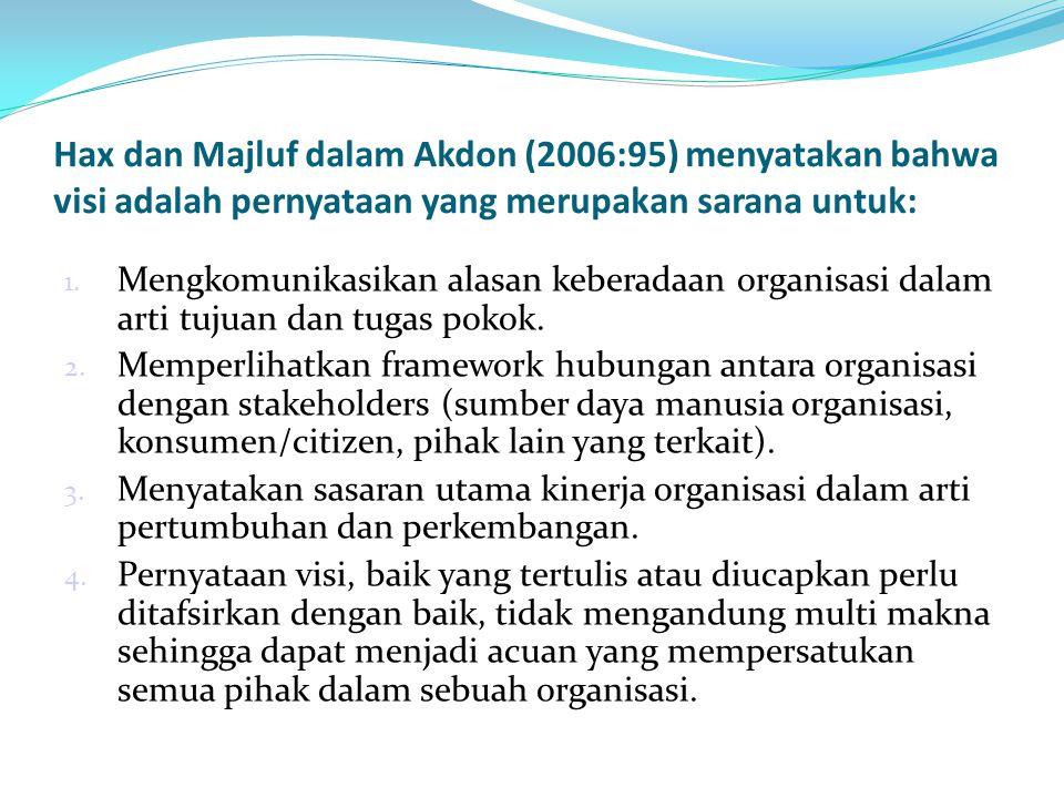 Hax dan Majluf dalam Akdon (2006:95) menyatakan bahwa visi adalah pernyataan yang merupakan sarana untuk: