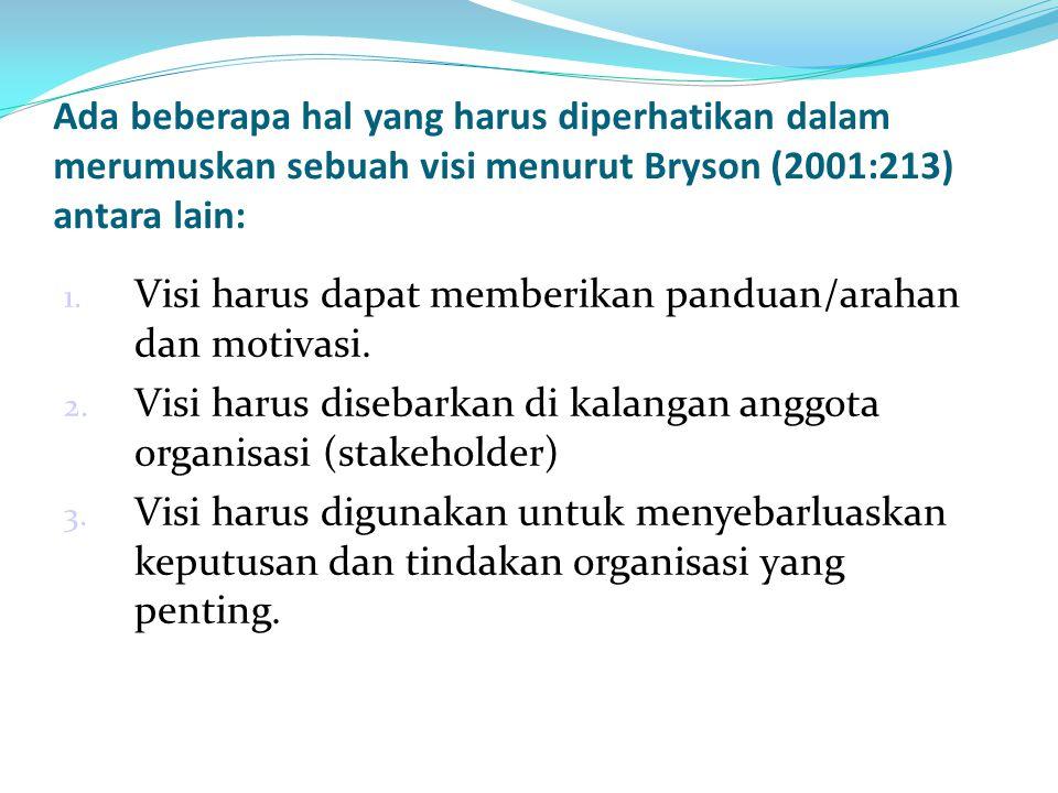 Ada beberapa hal yang harus diperhatikan dalam merumuskan sebuah visi menurut Bryson (2001:213) antara lain: