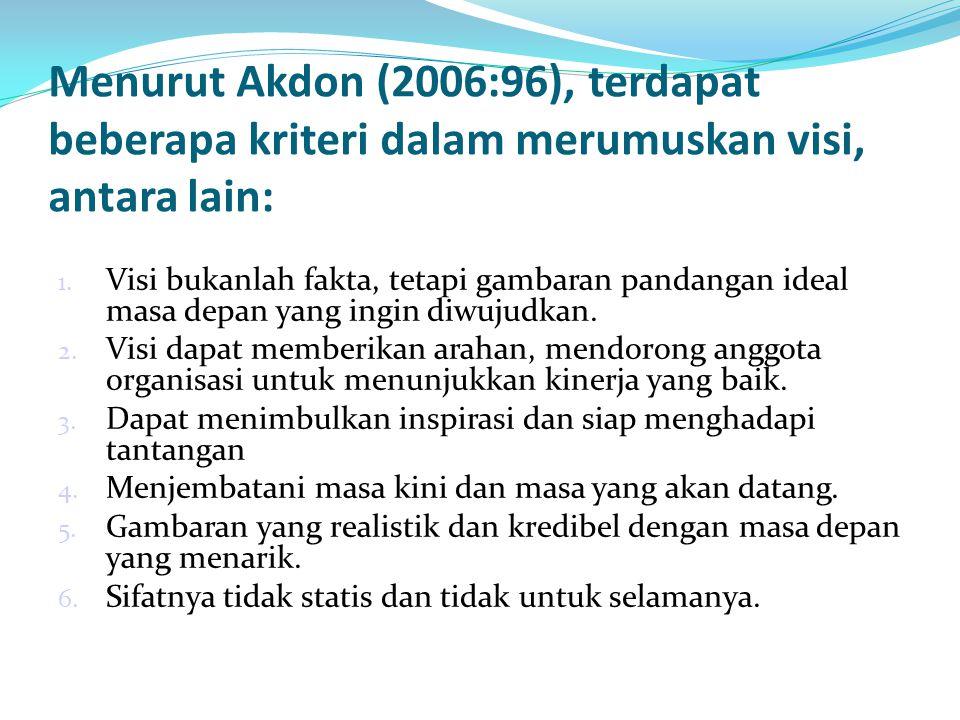 Menurut Akdon (2006:96), terdapat beberapa kriteri dalam merumuskan visi, antara lain: