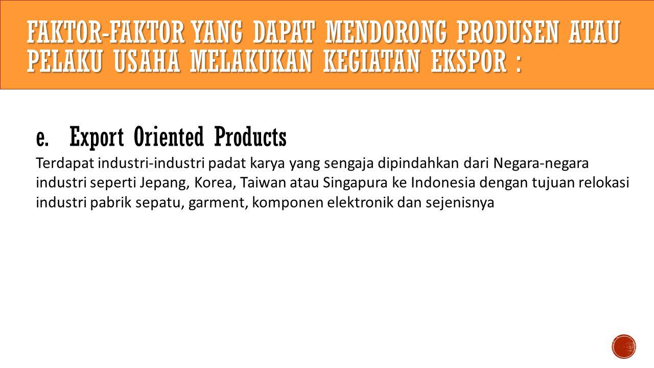 faktor-faktor yang dapat mendorong produsen atau pelaku usaha melakukan kegiatan ekspor :