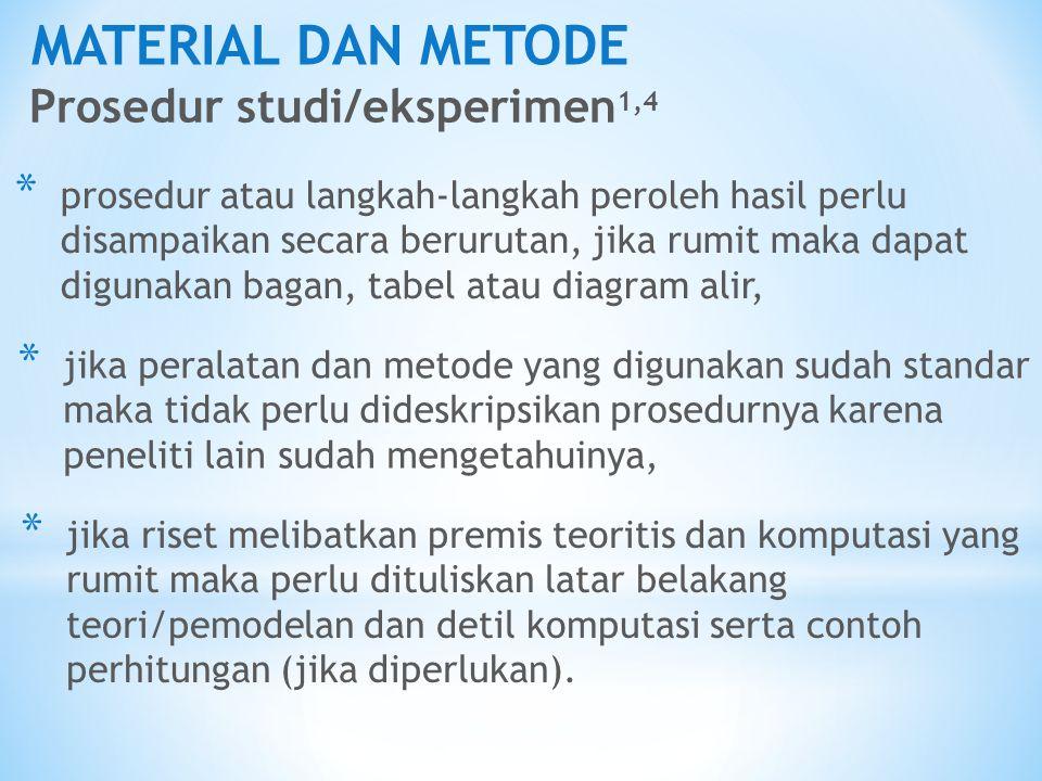 MATERIAL DAN METODE Prosedur studi/eksperimen1,4