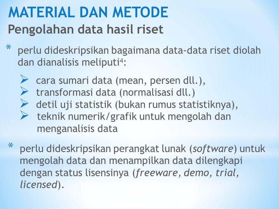 MATERIAL DAN METODE Pengolahan data hasil riset