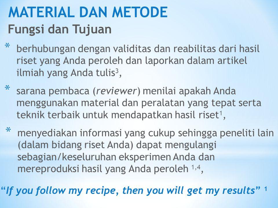 MATERIAL DAN METODE Fungsi dan Tujuan