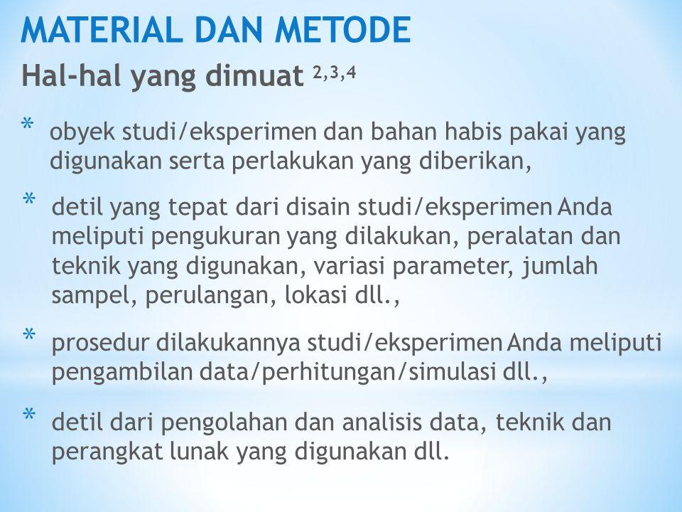 MATERIAL DAN METODE Hal-hal yang dimuat 2,3,4