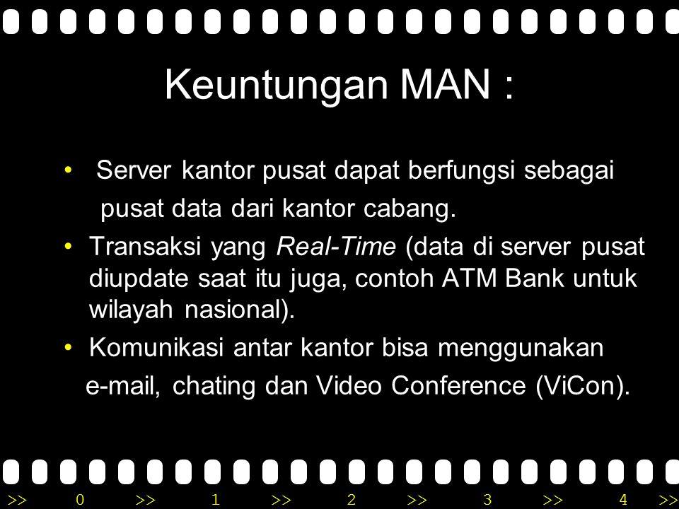 Keuntungan MAN : Server kantor pusat dapat berfungsi sebagai