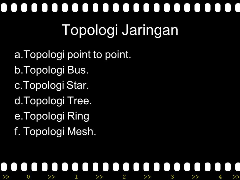 Topologi Jaringan a.Topologi point to point. b.Topologi Bus.